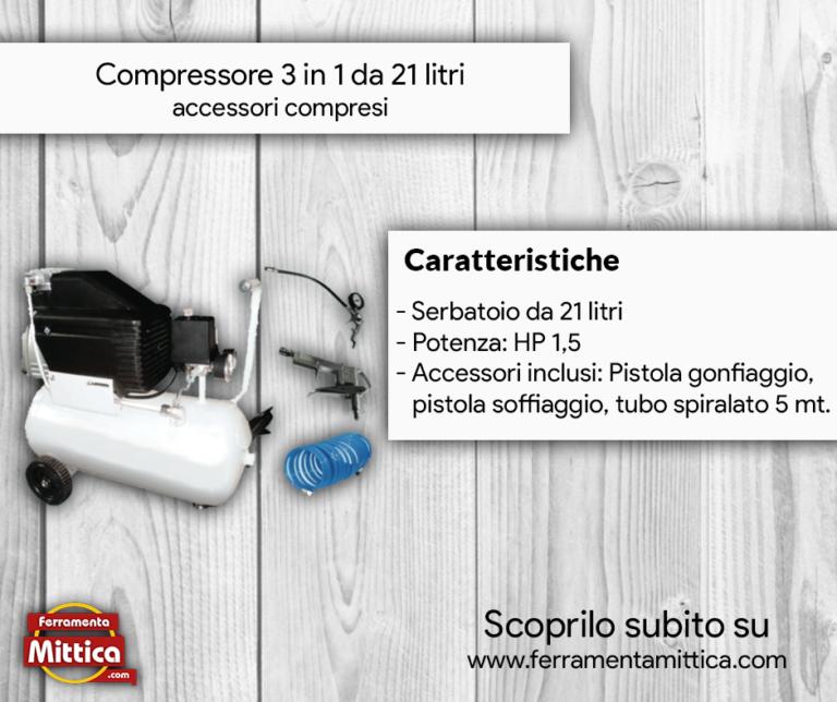 Compressore 21 litri carrellato 3in1 con accessori